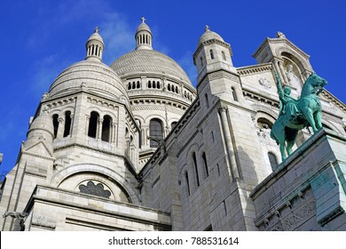 PARIS, FRANCE -2 JAN 2018- View of the Basilica of the Sacred Heart of Paris (Sacre Coeur), a large church on the Montmartre hill in the 18th arrondissement of Paris, France.
