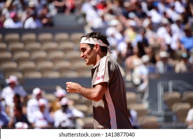 Paris, France - 2 June 2019: Switzerland's Roger Federer playing Argentine's Leonardo Mayer in 1/8 final at Roland Garros on Court Philippe Chatrier