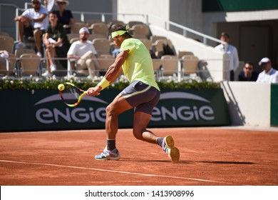 Paris, France - 2 June 2019: Spain's Rafael playing in Argentina's Juan Ignacio Londero 1/8 final at Roland Garros on Court Philippe Chatrier