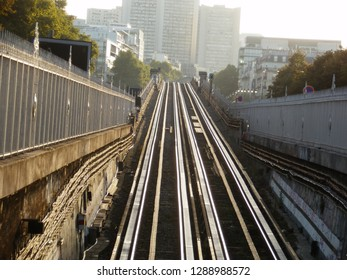 paris, france - 2 september 2017 : metro of the line 6 at Bercy  station. end of the aerial part. going to underground
