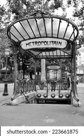 PARIS, FRANCE - 20 August 2014: The entrance to the Abbesses station for the Paris Metro. Famous art nouveau built in 1912. Take on 20 August 2014, Paris - France