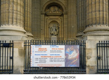 PARIS, FRANCE -20 DEC 2017- View of the Eglise Saint-Sulpice, a Roman Catholic church located in the 6th arrondissement of Paris near the Rue Bonaparte and the Luxembourg Gardens.