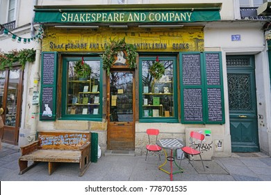 PARIS, FRANCE -20 DEC 2017- View of the landmark Shakespeare and Company bookstore and cafe located on the Left Bank in Paris, France, across from Notre Dame.
