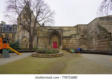 PARIS, FRANCE -20 DEC 2017- View of the Musée de Cluny, a landmark national museum of medieval arts and Middle Ages history located in the fifth arrondissement of Paris, France.