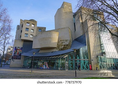 PARIS, FRANCE -20 DEC 2017- The Cinematheque Francaise is a cinema museum located in a building designed by architect Frank Gehry in the Bercy neighborhood on the right bank in Paris.