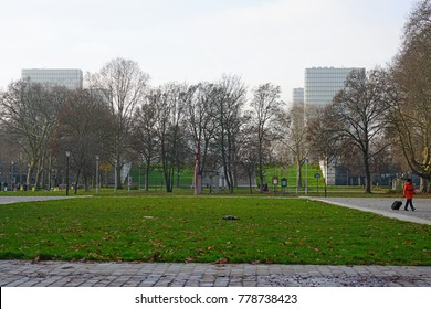 PARIS, FRANCE -20 DEC 2017- View of the Parc de Bercy, a public garden located in the Bercy neighborhood on the right bank in Paris, France.