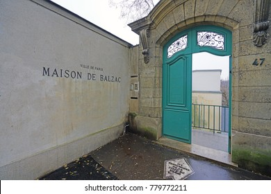 PARIS, FRANCE -20 DEC 2017- View of the Maison de Balzac, a a writer's house museum in the former residence of French novelist Honoré de Balzac located on Rue Raynouard in Paris, France.