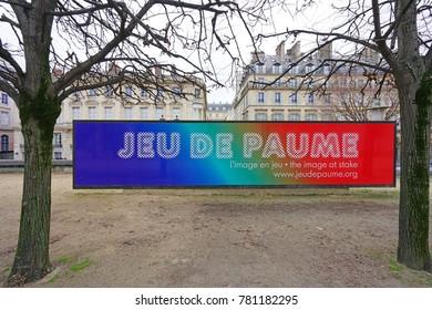 PARIS, FRANCE -20 DEC 2017- View of the Galerie du Jeu de Paume, a contemporary art museum located on the Place de la Concorde in Paris, France.