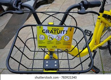 PARIS, FRANCE -20 DEC 2017- View of OFO bike shares in Paris, France.