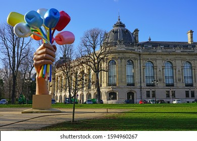 PARIS, FRANCE -20 DEC 2019- View of the sculpture Bouquet of Tulips by Jeff Koons outside the Petit Palais near the Champs-Elysees in Paris, France.