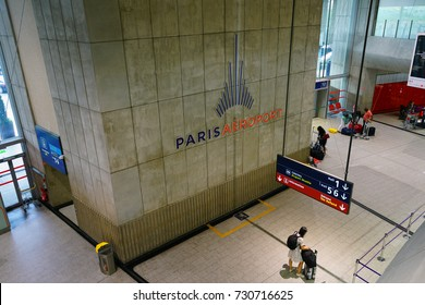 PARIS, FRANCE -20 JUL 2017- The Terminal 1 at the Roissy Charles de Gaulle International Airport (CDG) near Paris, France, was designed by architect Paul Andreu as an octopus with satellites.