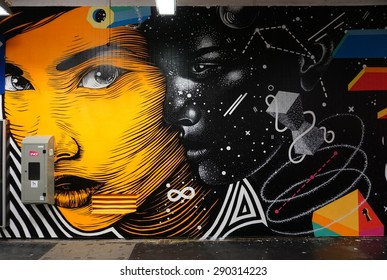 PARIS, FRANCE -20 JUNE 2015- From 27 May to 8 July 2015, the Gare du Nord is hosting sixteen famous French and international street artists to paint murals in and around the Paris railway station.