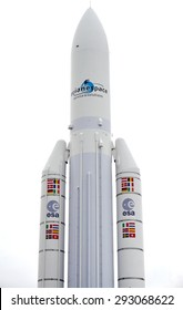 PARIS, FRANCE -20 JUNE 2015- The Arianespace 5 European rocket is on display at the 2015 Salon du Bourget airshow in Paris.