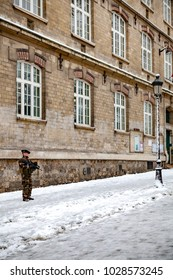 Paris, France - 2018, February 7th: French soldier guarding a school in 18th district near Montmartre.