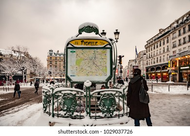 Paris, France - 2018, February 7th: Snow in Paris