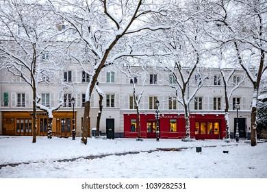 Paris, France - 2018, February 7th: Snow in Paris at Place du Tertre In Montmartre.