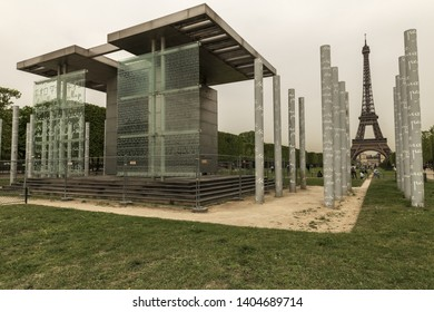 PARIS, France, 2019-04, The Wall of peace Monument. For years the 9-meter-high  monument has been the subject of intense controversy,
