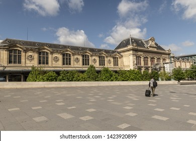 PARIS, FRANCE, 2019-05, Austerlitz train and metro station, one of the six large terminus railway stations in Paris. Situated on the left bank of the Seine in the southeastern part of the city,