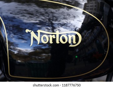Paris, France, 21 september 2018: Letters norton on a motorcycle tank