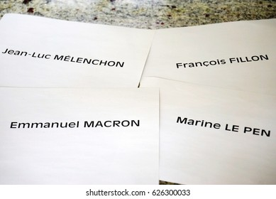PARIS, FRANCE -22 APR 2017- Voting ballots with the names of the principal candidates for the first round of the 2017 French presidential election taking place on April 23.