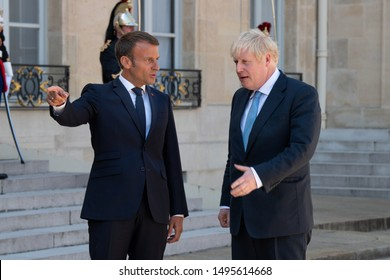 Paris, FRANCE - 22th august 2019 : French President Emmanuel Macron welcoming Prime Minister of United Kingdom Boris Johnson for a working lunch at Elysée Palace.