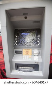 PARIS, FRANCE- 23 April 2017: Following the first round of presidential elections in France, banks and money distributors, were vandalized overnight.
