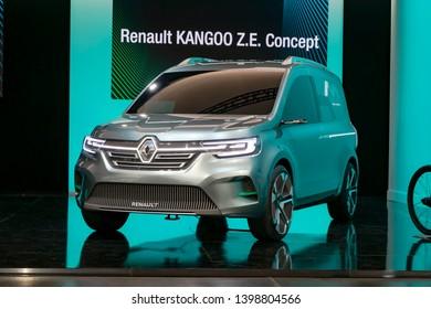 Paris, France - 23 April, 2019: World premiere of the electric concept car Renault Kangoo Z.E. Concept.