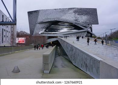 PARIS, FRANCE -23 DEC 2018- View of the Philharmonie de Paris, a landmark contemporary building designed by star architect Jean Nouvel housing concert halls and exhibits in the Cite de la Musique.
