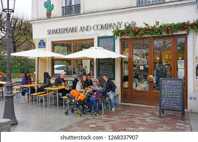 PARIS, FRANCE -23 DEC 2018- View of the landmark Shakespeare and Company bookstore and cafe located on the Left Bank in Paris, France, across from Notre Dame.