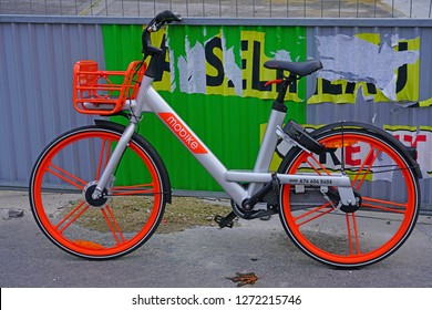 PARIS, FRANCE - 23 DEC 2018 - View of a Mobike shared bike on the street in Paris.