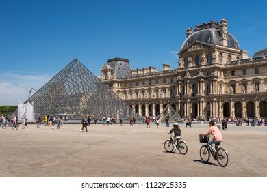 Paris, France - 23 June 2018: Louvre museum and Louvre Pyramid in summertime