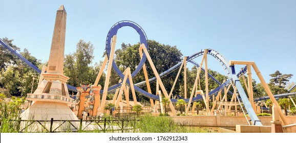 PARIS, FRANCE - 23 JUNE 2020 : Asterix attraction Park during the Day, osiris attraction