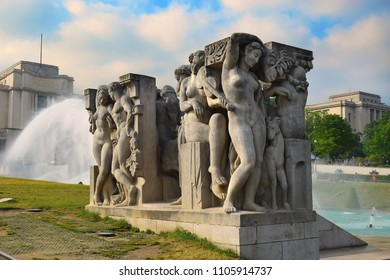 PARIS, FRANCE -23 may 2018  relief group sculpture at Jardins du Trocadero with fountain and Palais de Chaillot in Paris, France