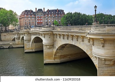 PARIS, FRANCE -23 may 2018: view of the Pont Neuf, bridge which crosses the River Seine from right bank of the Seine River in Paris, France