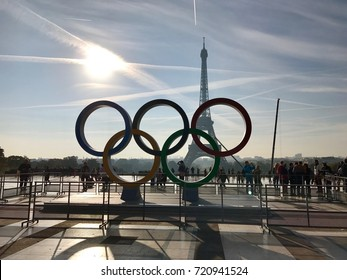 Paris France, 23 September 2017: Olympic games symbol on Trocadero place in front of the Eiffel Tower celebrating Paris 2024 summer Olympics