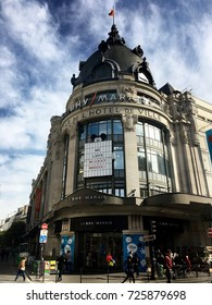 Paris France, 23 September 2017: BHV Bazar de l'Hotel de Ville department store entrance in Le Marais Paris