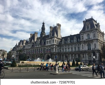 Paris France, 23 September 2017: Paris City Hall Hotel de Ville housing local administration in le Marais