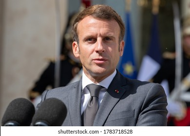 Paris, FRANCE - 23th July 2020 : The French president Emmanuel Macron in press conference for the visit of the President of the Republic of Cyprus at Elysée Palace.
