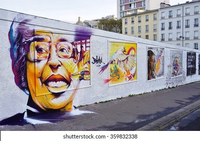 PARIS, FRANCE -24 DEC 2015- Famous muralists have painted the Mur Rosa Parks (Rosa Parks Wall) on Rue d Aubervilliers in the 19th arrondissement, making it the longest street art mural in Paris.