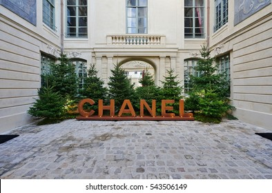 PARIS, FRANCE -24 DEC 2016- French fashion house Chanel has opened a temporary pop-up store until May 2017 in the landmark Hotel des Ambassadeurs de Hollande mansion on Rue Vieille du Temple in Paris.