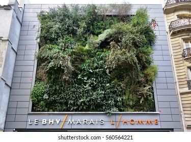PARIS, FRANCE -24 DEC 2016- A living green vertical wall planted with greenery on a building in Paris across from the Bazar de l Hotel de Ville department store.
