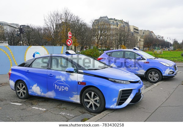 PARIS, FRANCE -24 DEC 2017- View of HYPE blue taxis, hydrogen fuel vehicles launched in Paris at the COP 21 climate change conference.