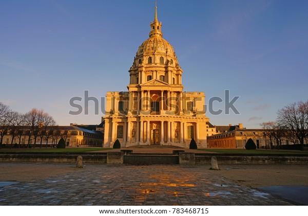 PARIS, FRANCE -24 DEC 2017- View of the Cathédrale Saint-Louis des Invalides, a church next to the Musee de l'Armee museum on the Left Bank in Paris, France.