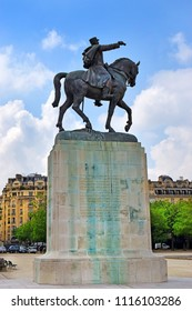 PARIS, FRANCE -24 may 2018 equestrian statue of Marshal Joseph Jacques Cesaire Joffre (1852-1931), french general during World War I and defeated the germans at the first battle of the Marne, Paris, F