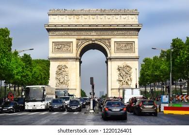 PARIS, FRANCE -24 may 2018  Arc de Triomphe (Triumphal Arch)  at the center of Place Charles de Gaulle at the Chaps Elysees, Paris, France