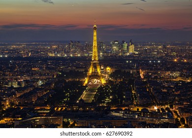 PARIS, FRANCE -  24 SEPTEMBER, 2016: View of the Paris and Tower Eiffel. The Eiffel tower is the most visited monument of France. The Eiffel tower stands 324 metres (1,063 ft) tall.