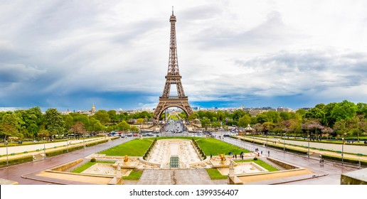 Paris, France - 24.04.2019: Aerial view of Tower Eiffel on beautiful cloudy sky in Paris in France