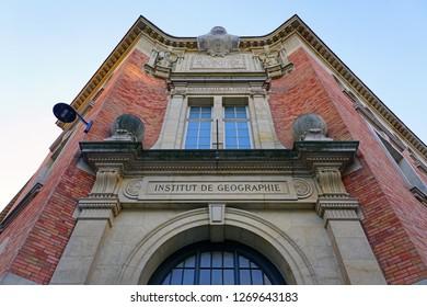 PARIS, FRANCE -25 DEC 2018- Day view of the Institut de Geographie and Oceanographie Universite Pantheon-Sorbonne Paris 1 university on Rue Saint-Jacques in the Latin Quarter of Paris.
