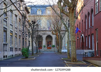 PARIS, FRANCE -25 DEC 2018- View of the campus of the Universite Pierre et Marie Curie (UPMC), including the Musee Curie museum, in the Latin Quarter of Paris.