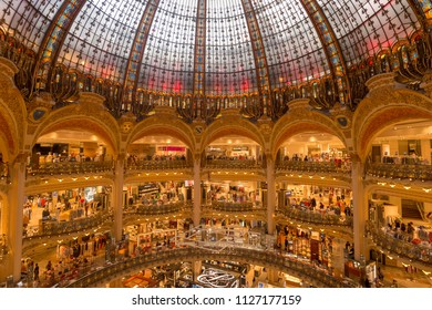 Paris, France - 25 June 2018: Interior view of the Galeries Lafayette mall.